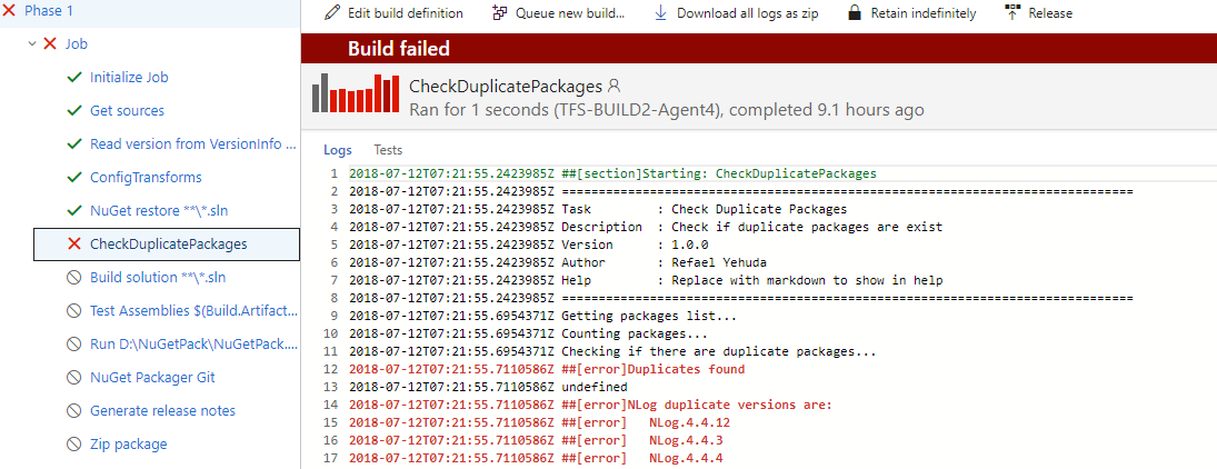 Check Duplicate NuGet packages - Visual Studio Marketplace